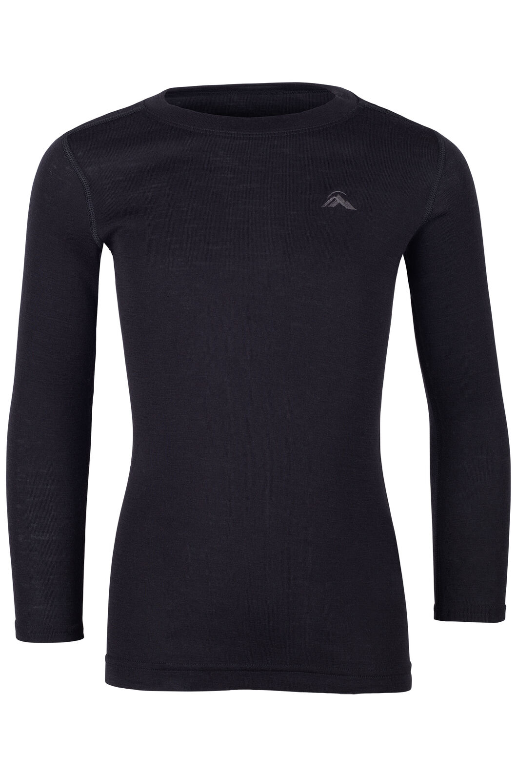 Macpac 220 Merino Long Sleeve Top — Kids', Black, hi-res