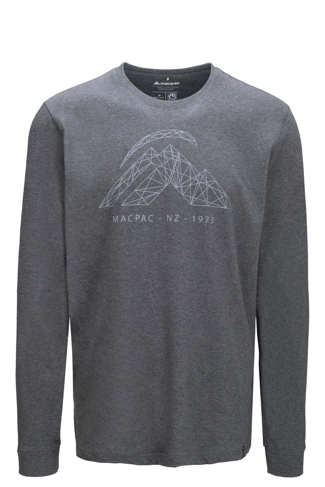 Macpac String Logo Fairtrade Organic Cotton Long Sleeve Tee — Men's, Charcoal Marle, hi-res