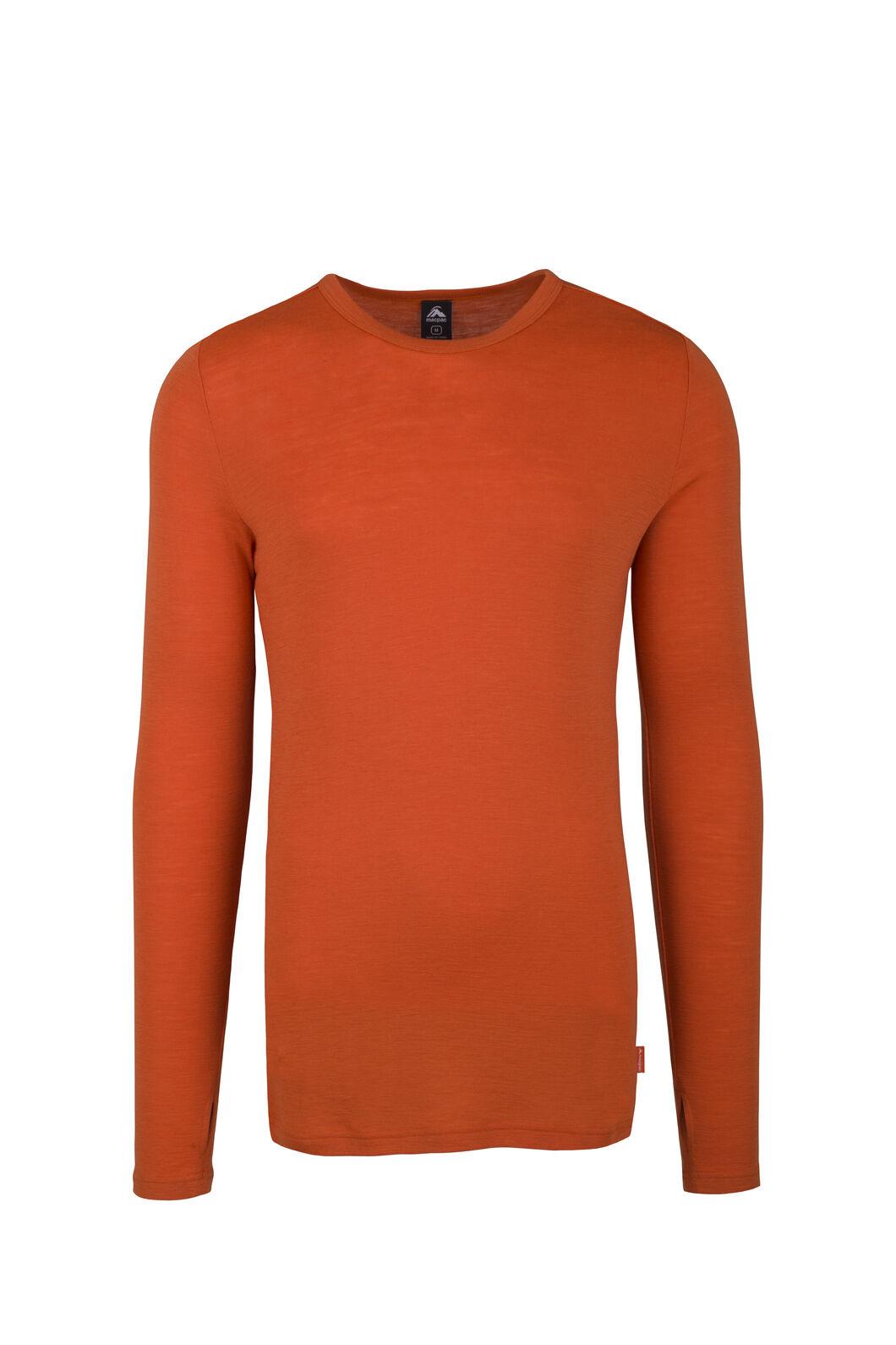 Macpac Men's 220 Merino Long Sleeve Top, Burnt Orange, hi-res