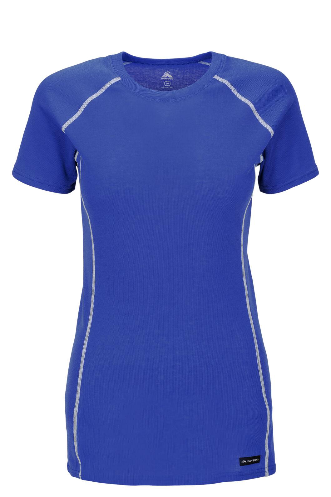 Macpac Women's Geothermal Short Sleeve Tee, Dazzling Blue, hi-res