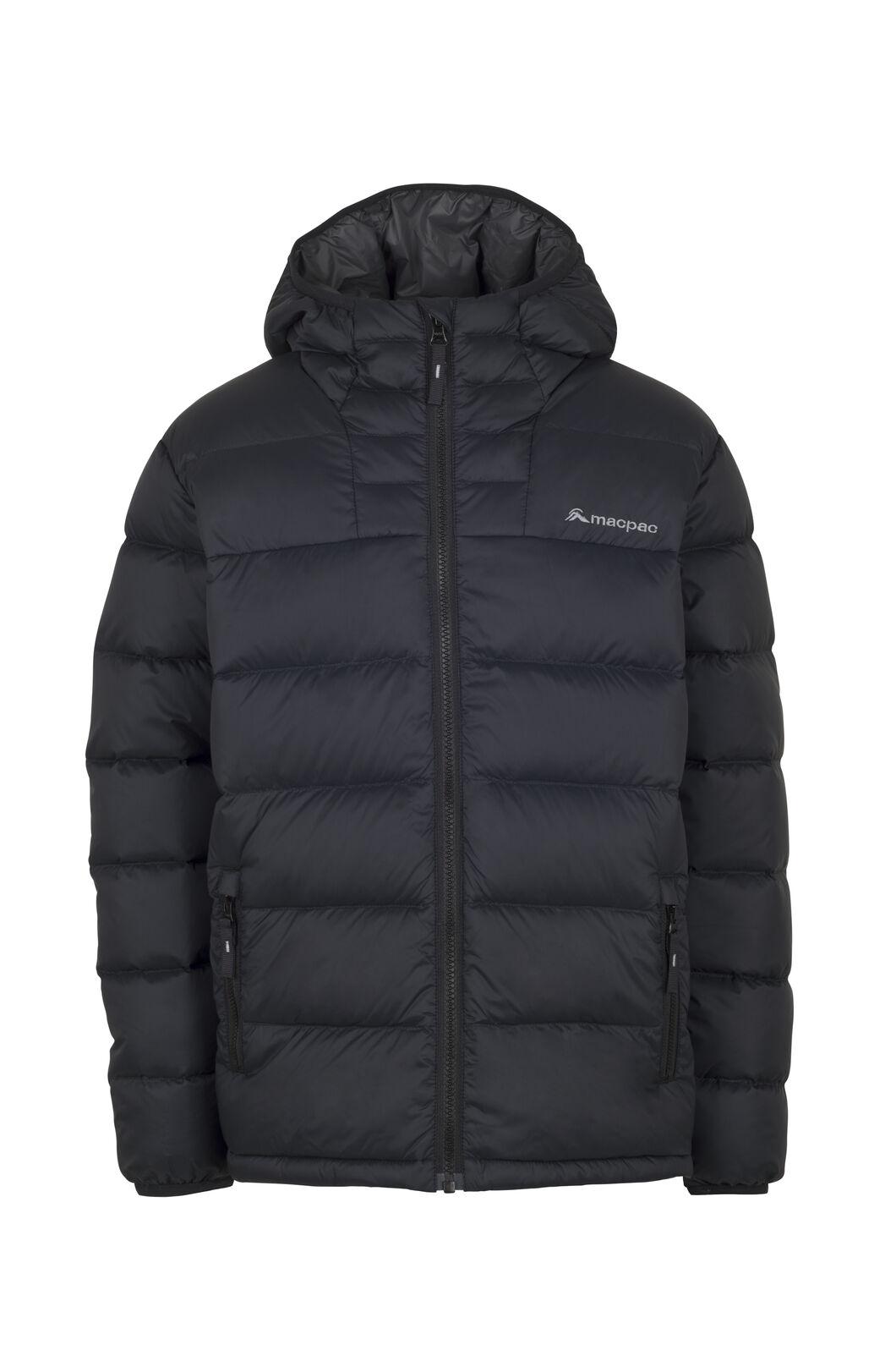Macpac Atom Hooded Down Jacket — Kids', Black, hi-res