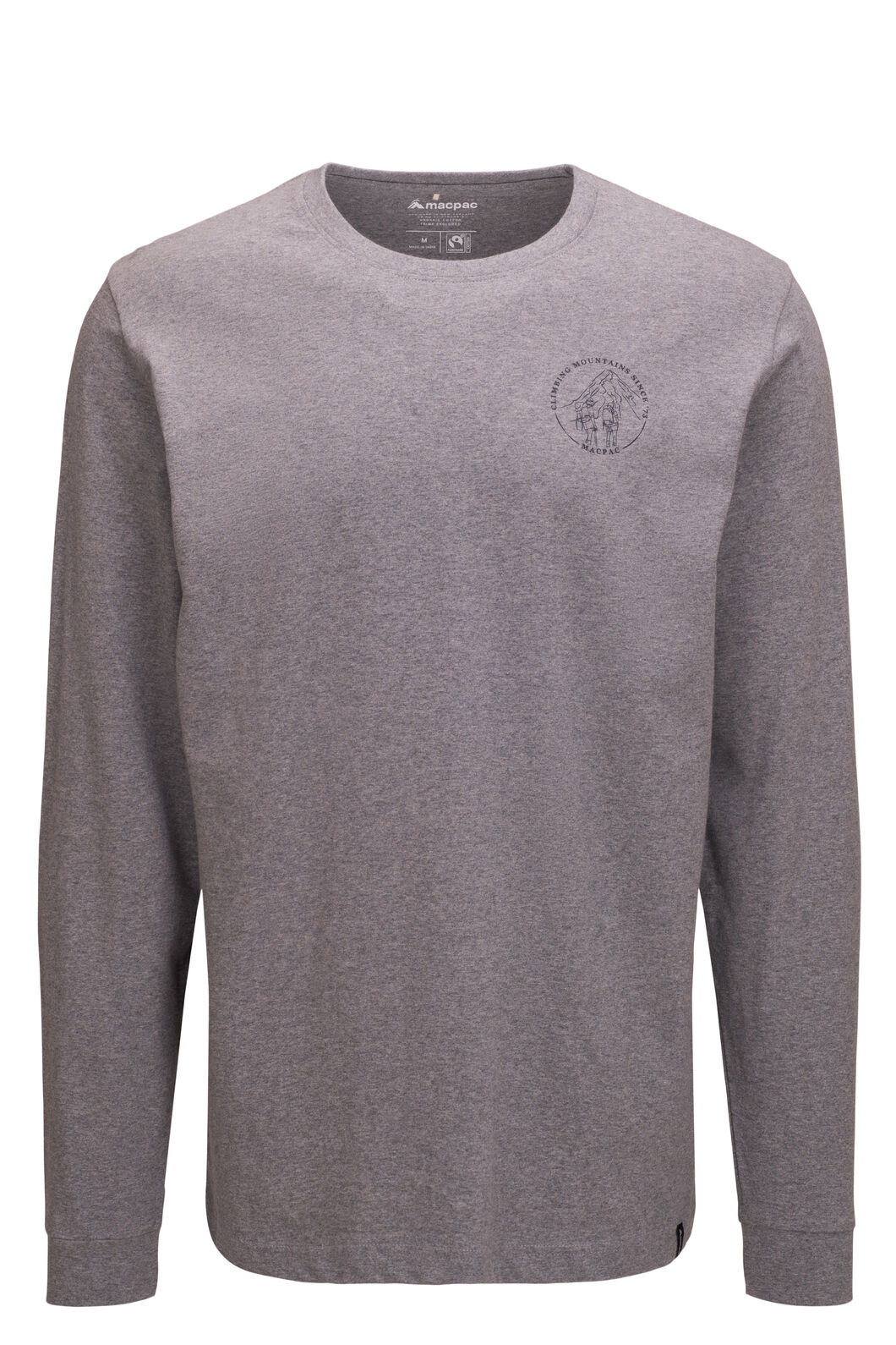 Macpac Since 1973 Fairtrade Organic Cotton Long Sleeve Tee — Men's, Grey Marle, hi-res