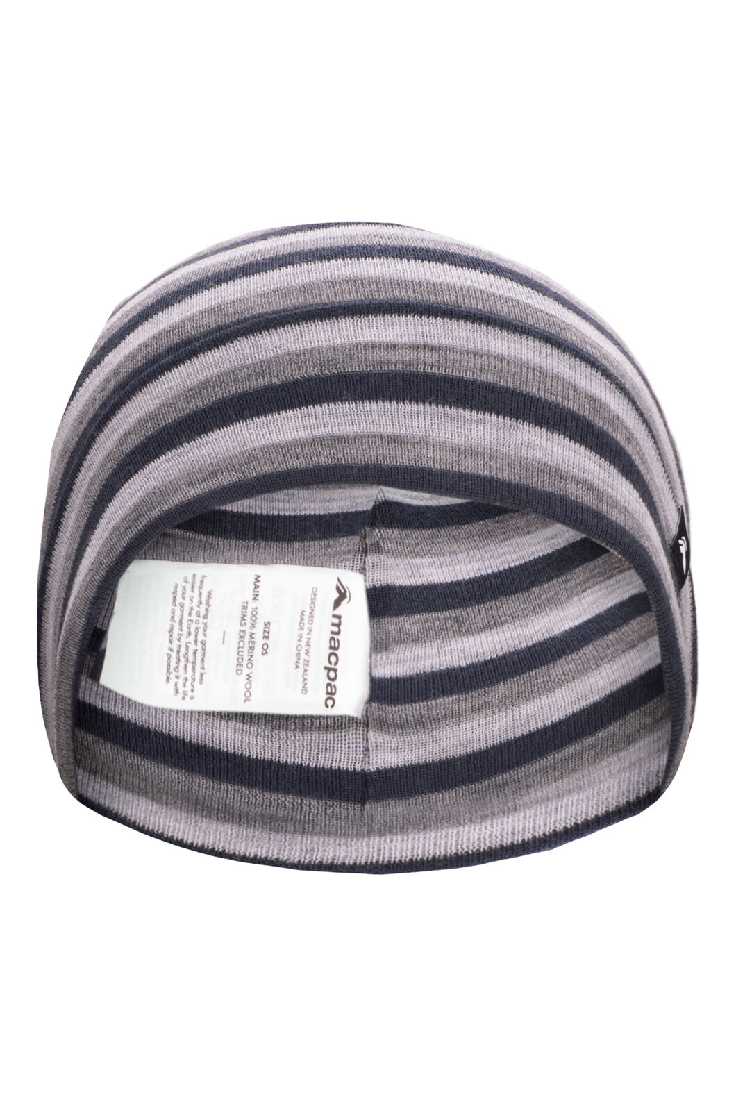 Macpac 220 Merino Beanie — Kids', Grey/Navy Stripe, hi-res