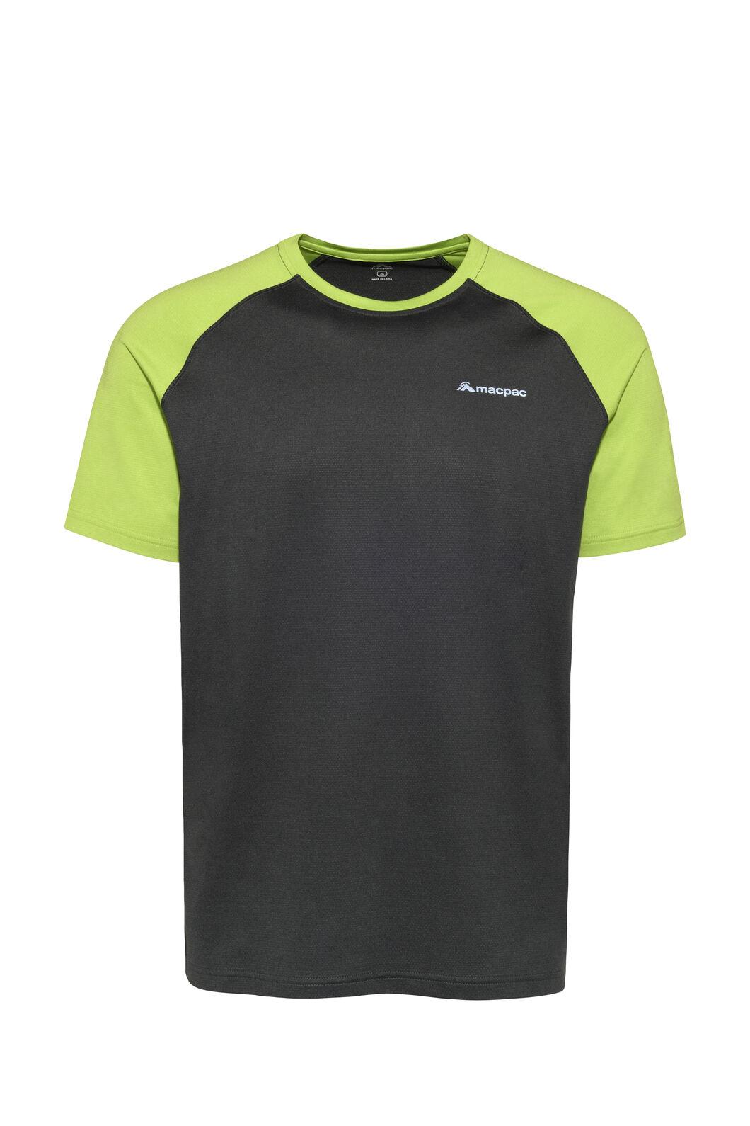 Macpac Eyre Short Sleeve Tee — Men's, Phantom/Macaw Green, hi-res