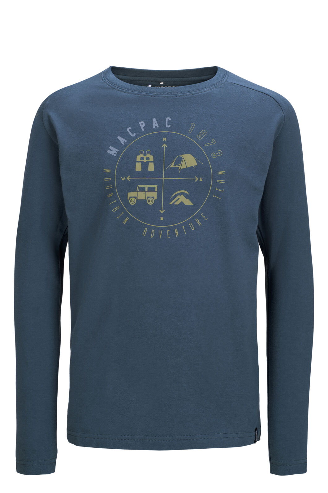 Macpac Compass Fairtrade Organic Cotton Long Sleeve Tee — Kids', Orion Blue, hi-res