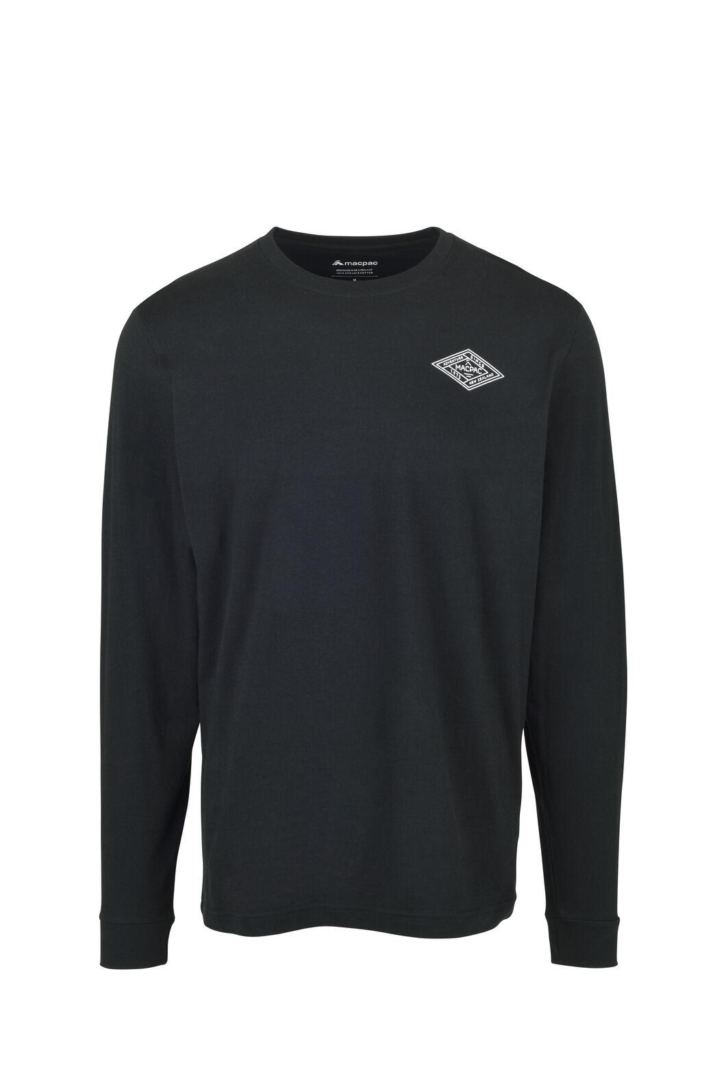 Macpac Diamond Fairtrade Organic Cotton Long Sleeve Tee — Men's, Black, hi-res