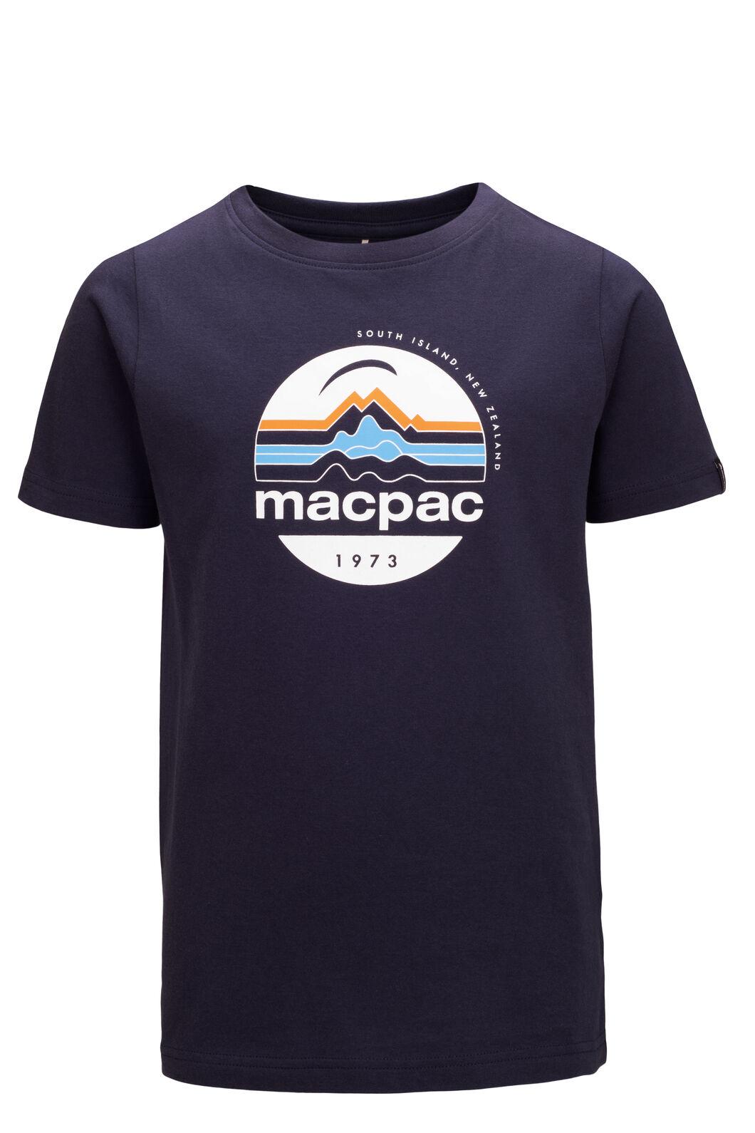 Macpac Retro Fairtrade Organic Cotton Tee — Kids', BLUE NIGHTS, hi-res