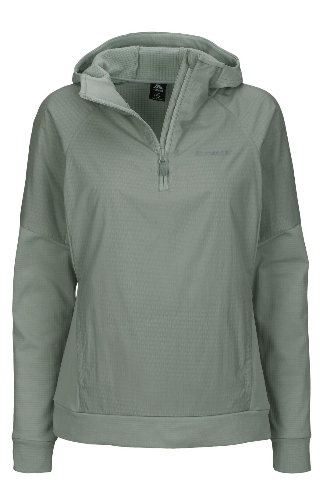 Macpac Women's Saros Polartec® Alpha® Hooded Pullover, Aqua Gray, hi-res