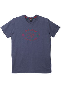 Mountain Print Vee Neck Tee - Men's, Carbon Melange, hi-res
