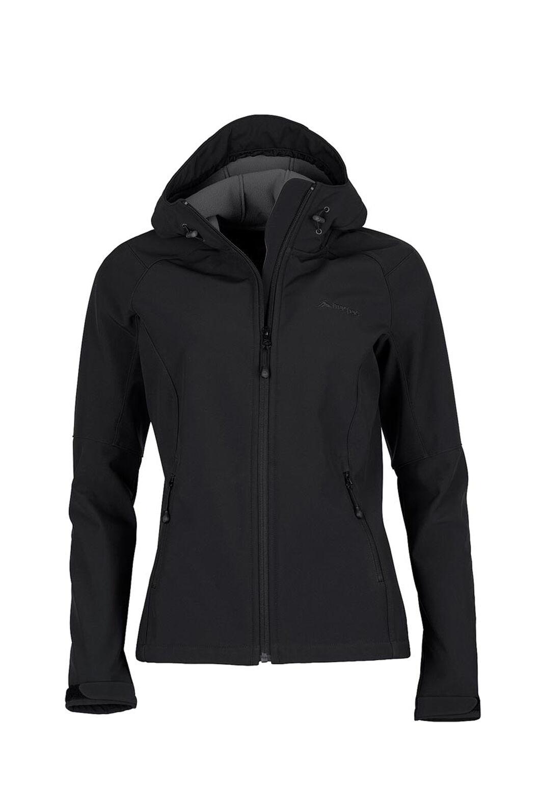 Macpac Sabre Hooded Softshell Jacket - Women's, Black, hi-res