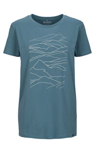 Macpac Landscape Fairtrade Organic Cotton Tee — Women's, Aegean Blue, hi-res