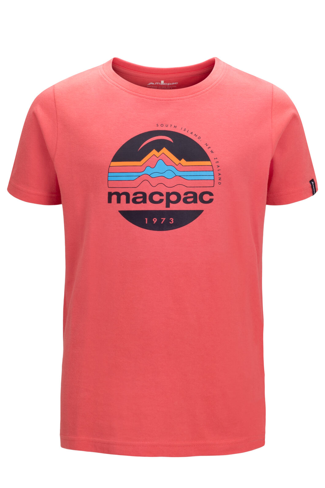 Macpac Kids' Retro Short Sleeve Tee, Spiced Coral, hi-res