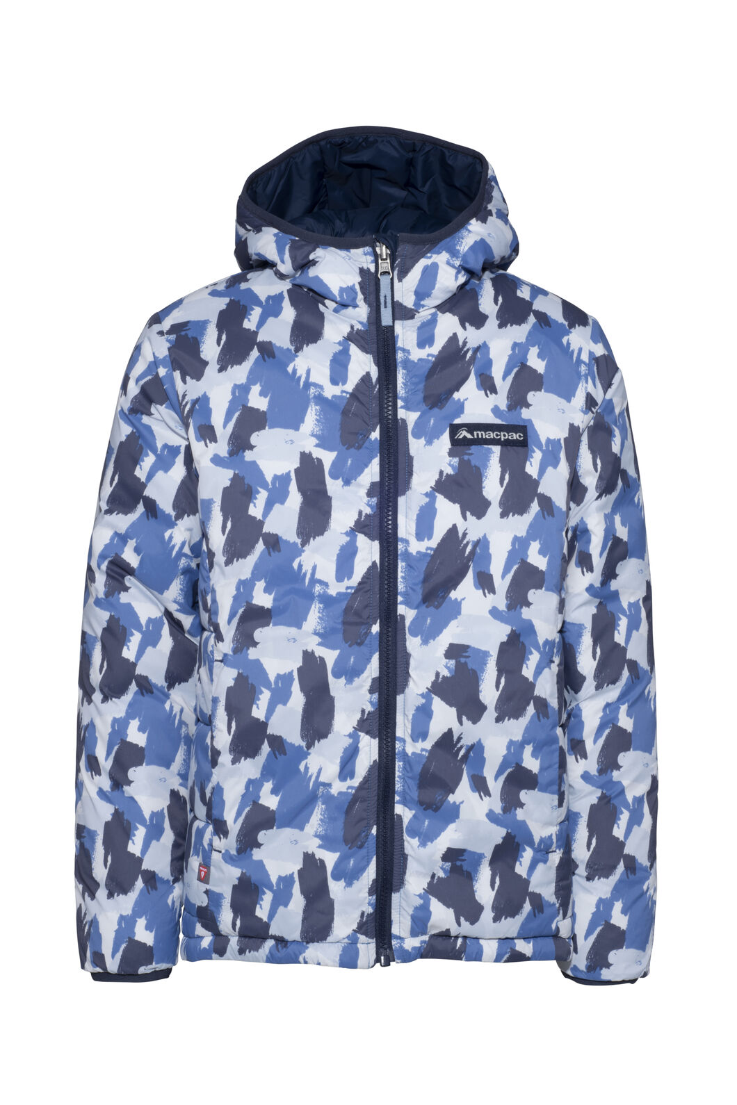 Macpac Pulsar Alpha PrimaLoft® Hooded Jacket — Kids', Blue Camo/Black Iris, hi-res