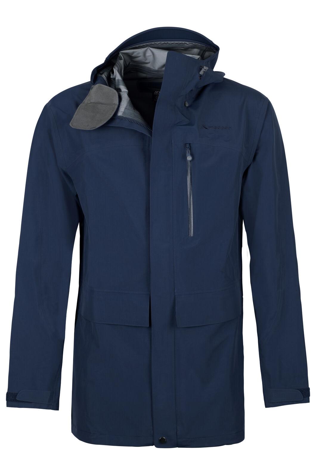 Macpac Resolution Pertex® Long Rain Jacket - Men's, Black Iris, hi-res