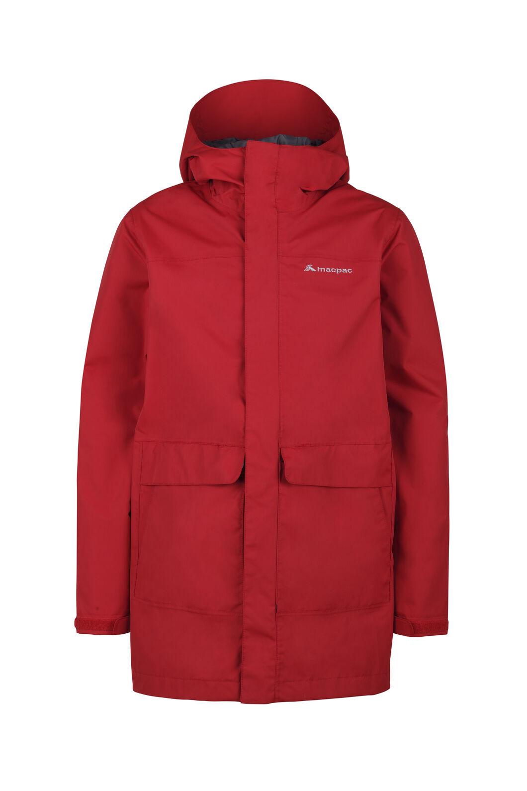 Macpac Lagoon Long Rain Jacket — Kids', Haute Red, hi-res