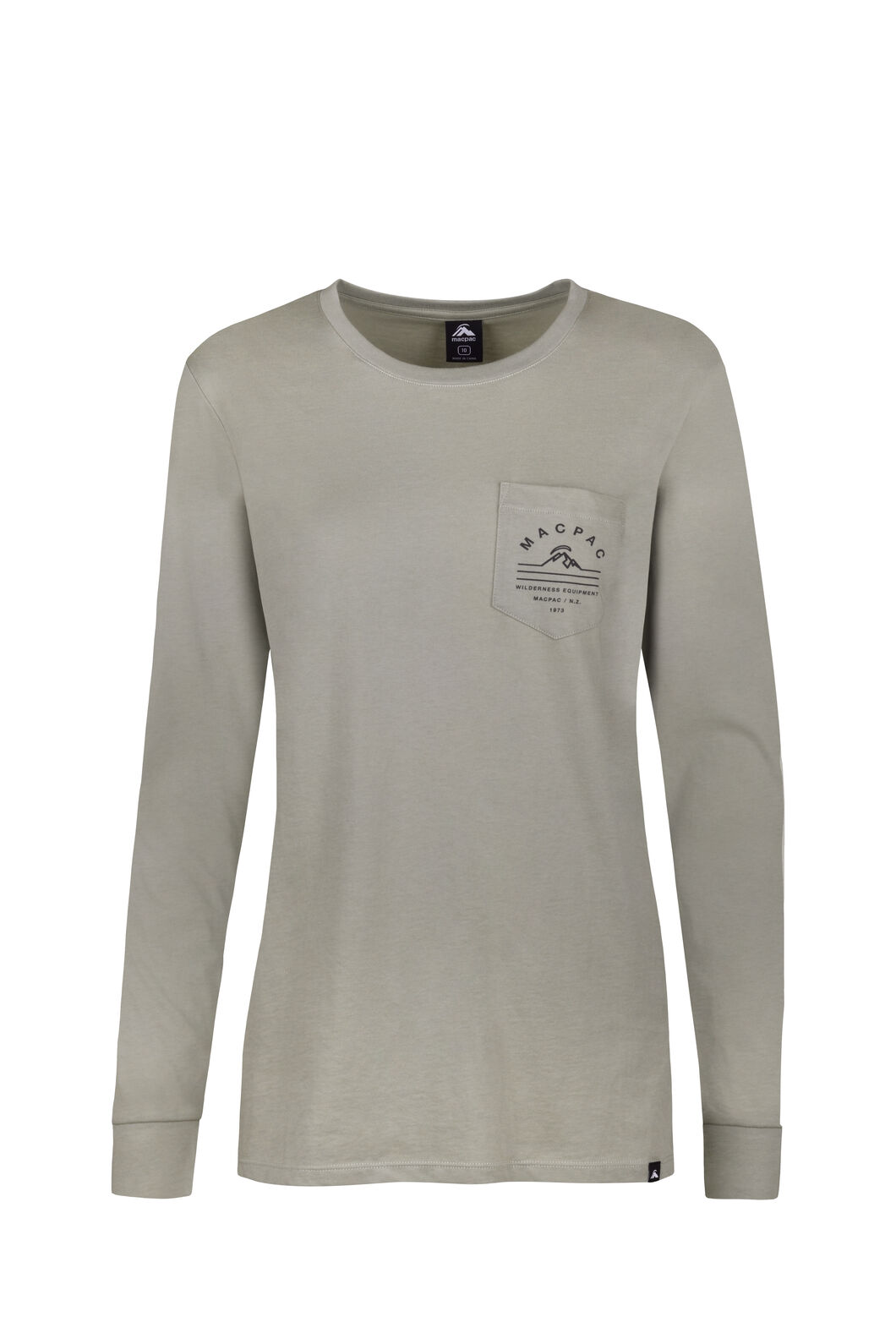 Macpac Alps Organic Long Sleeve Tee — Women's, Seagrass, hi-res