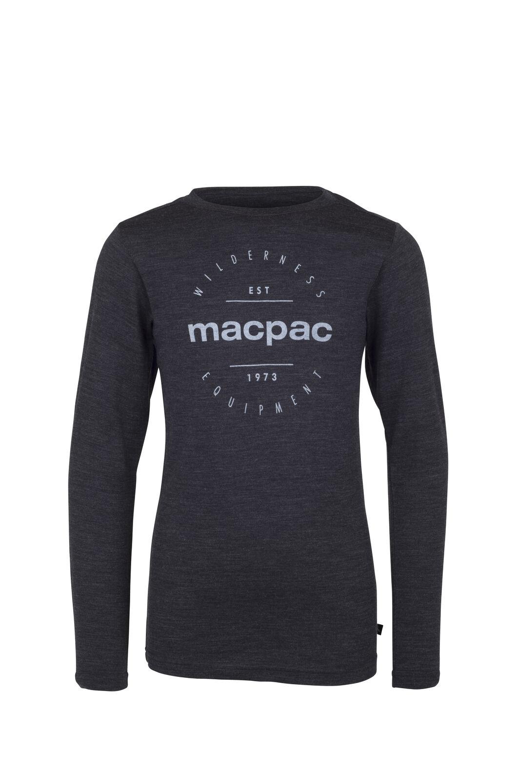 Macpac Merino 180 Long Sleeve Crew - Kids', Charcoal Marle, hi-res