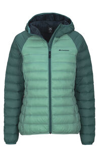 Macpac Uber Light Hooded Down Jacket — Women's, Wasabi/Hyrdro, hi-res