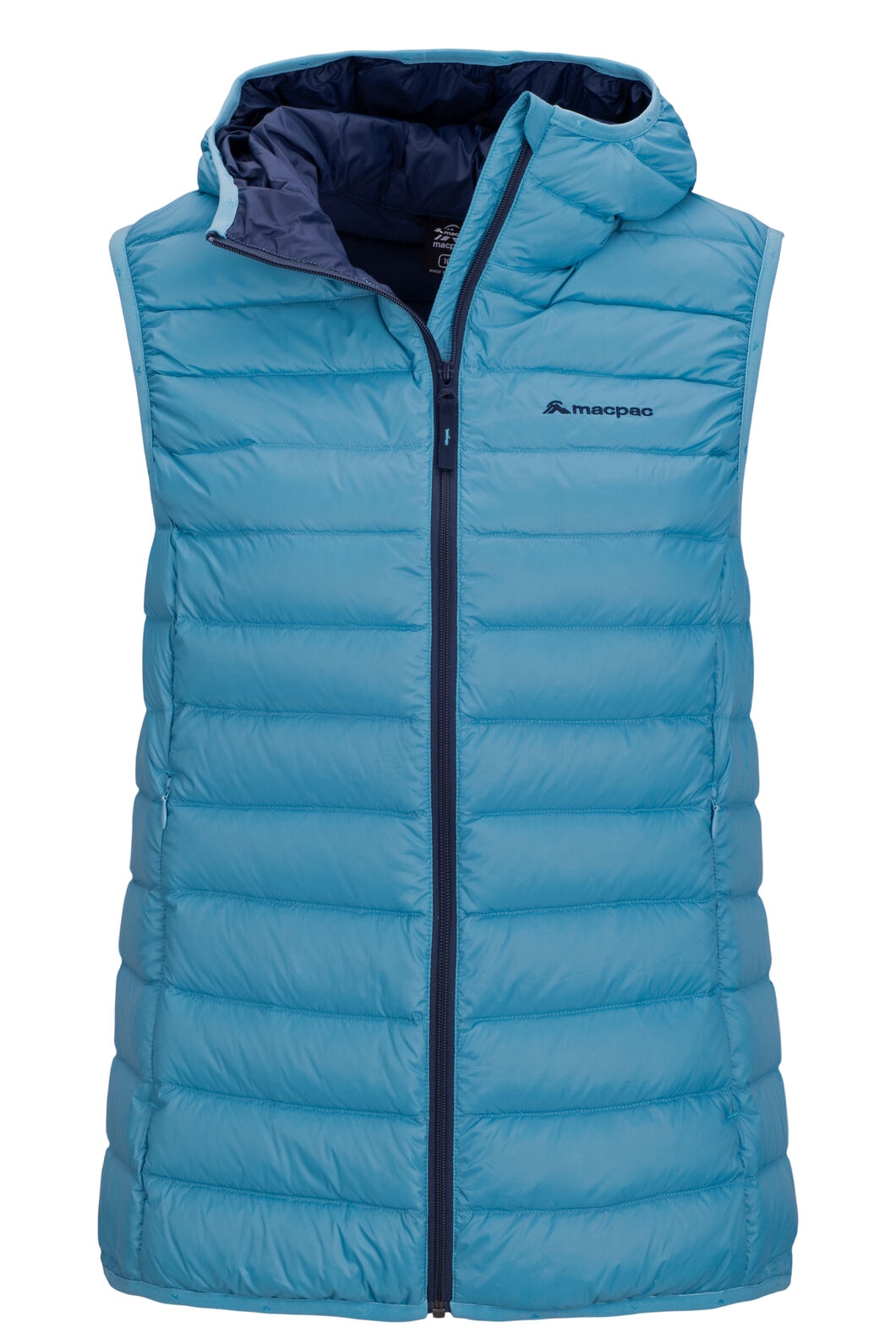 Macpac Uber Light Hooded Down Vest — Women's, Delphinium, hi-res