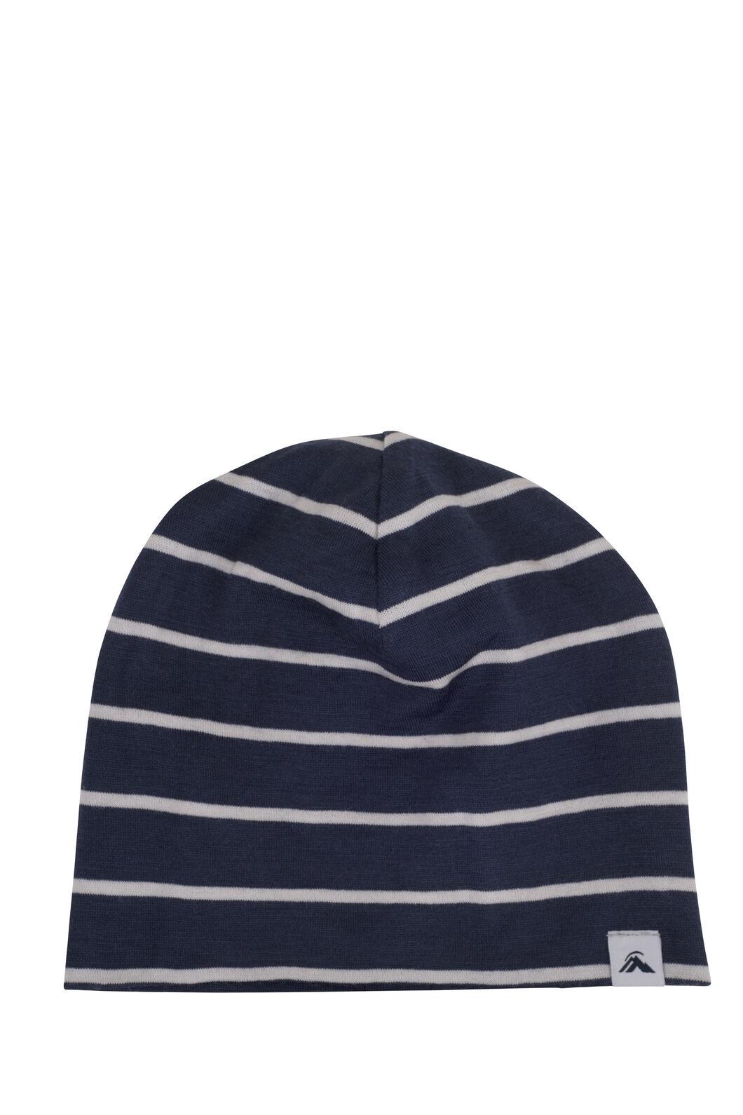 Macpac 150 Merino Beanie — Baby, Navy Stripe, hi-res