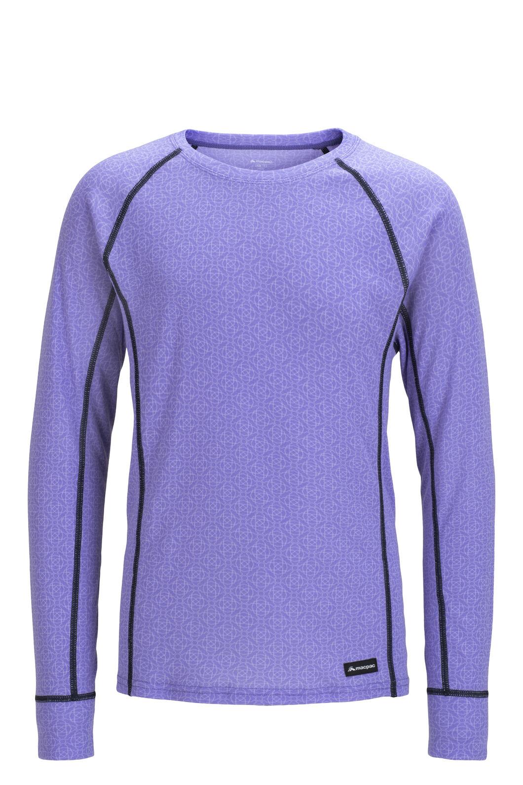 Macpac Geothermal Long Sleeve Top — Kids', Aster Purple Print, hi-res