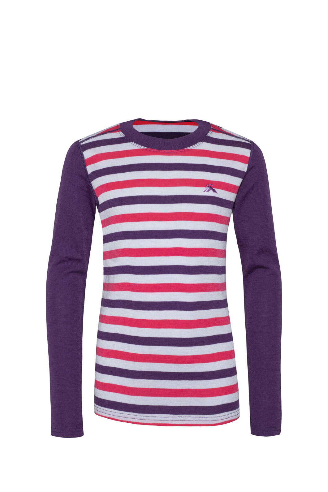 Macpac 220 Merino Long Sleeve Top — Kids', Wineberry Stripe, hi-res