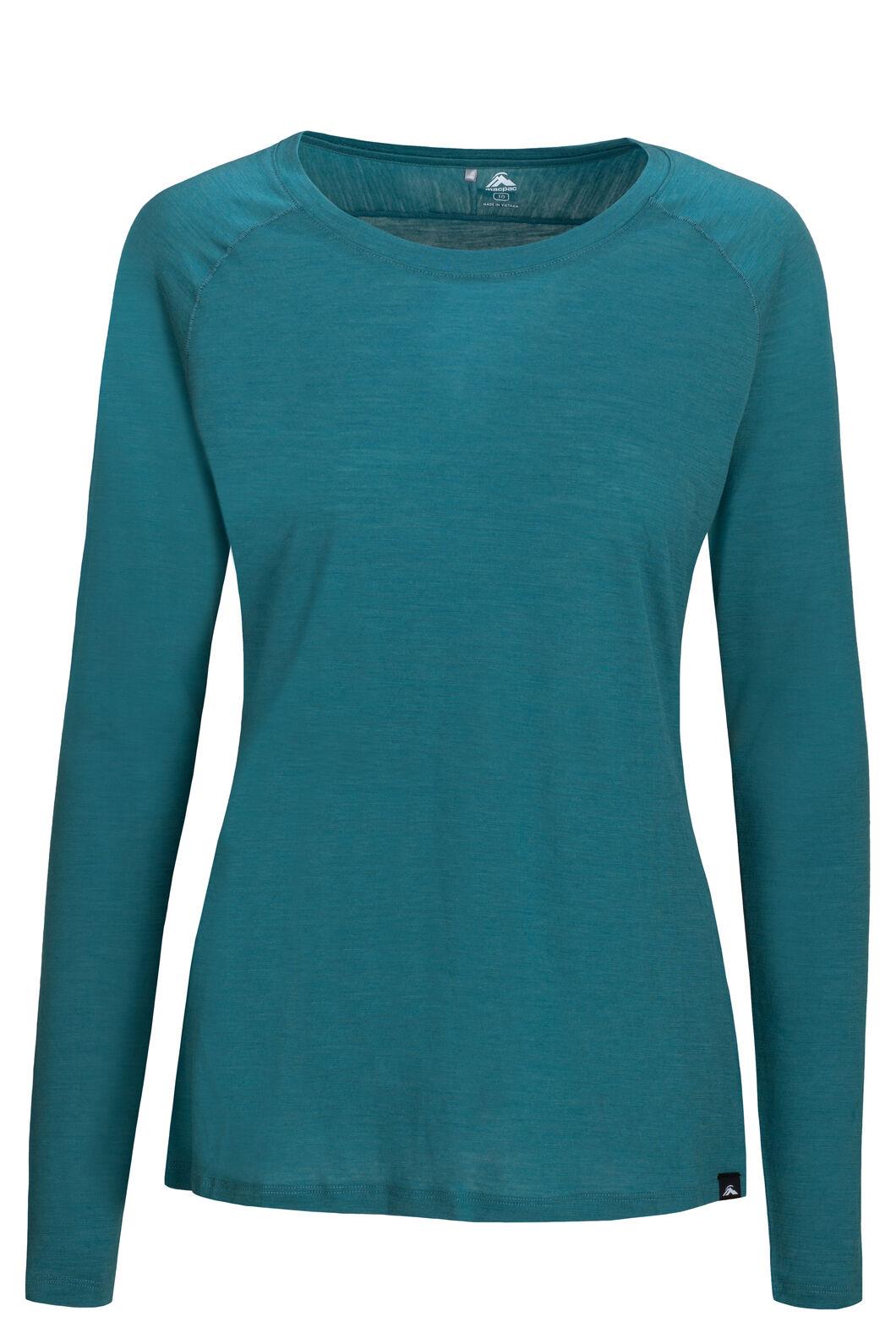 Macpac Women's Meadow 145 Merino Blend Long Sleeve Tee, Hydro, hi-res