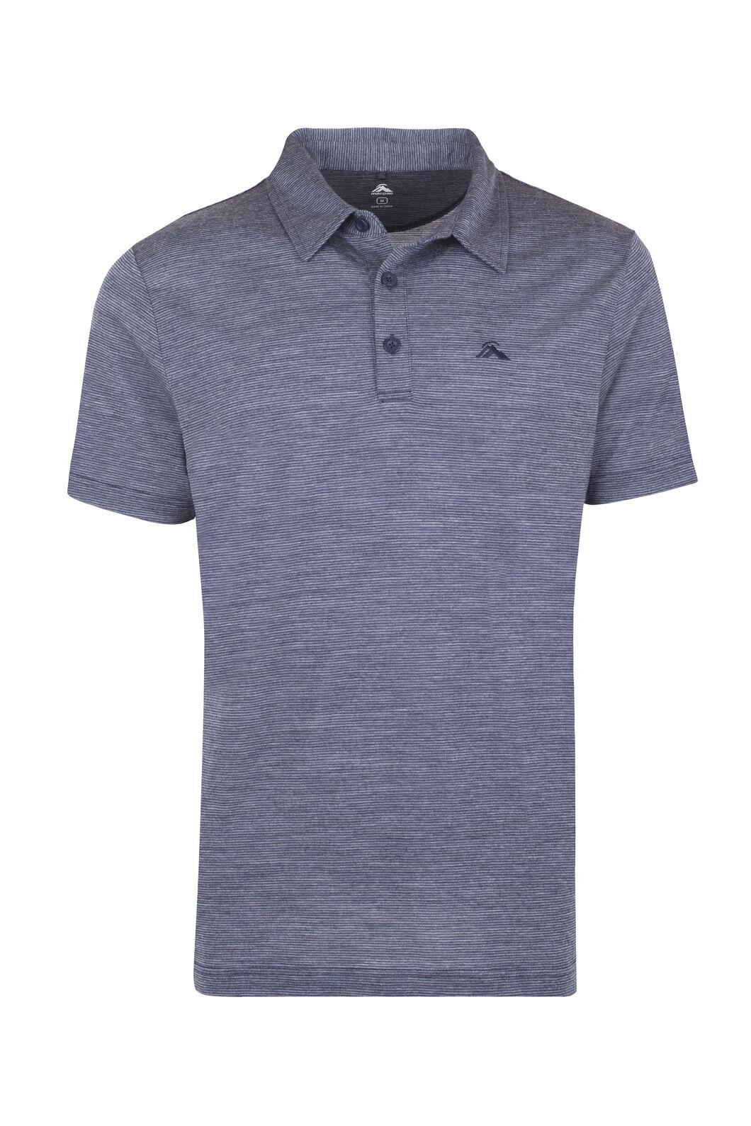 Macpac Merino Blend Short Sleeve Polo - Men's, Black Iris Stripe, hi-res