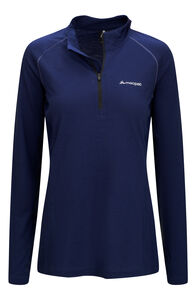 Macpac Casswell Merino Blend Long Sleeve Zip Tee — Women's, Blueprint, hi-res