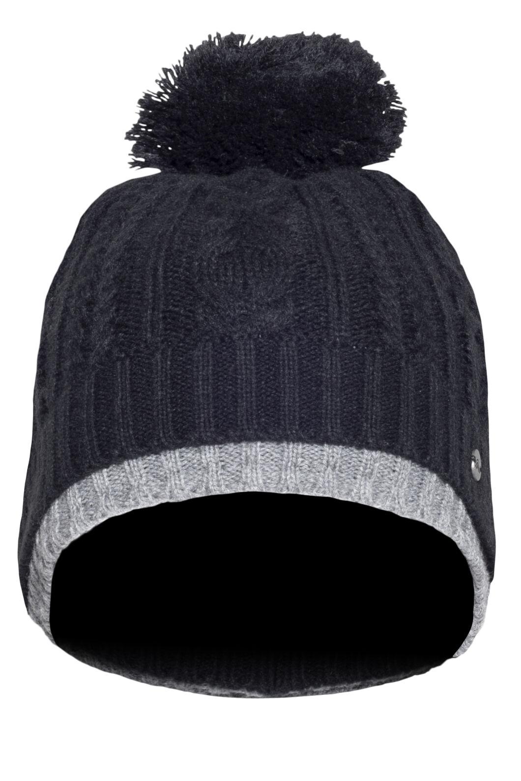 Macpac Rhythm Fleece Lined Beanie, Black/Light Grey Marle, hi-res