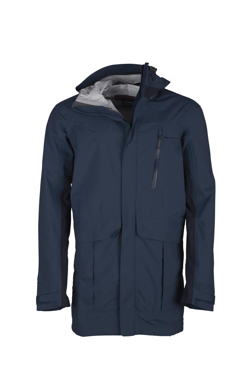 Macpac Copland Long Rain Jacket - Men's, Estate Blue/Black Iris, hi-res