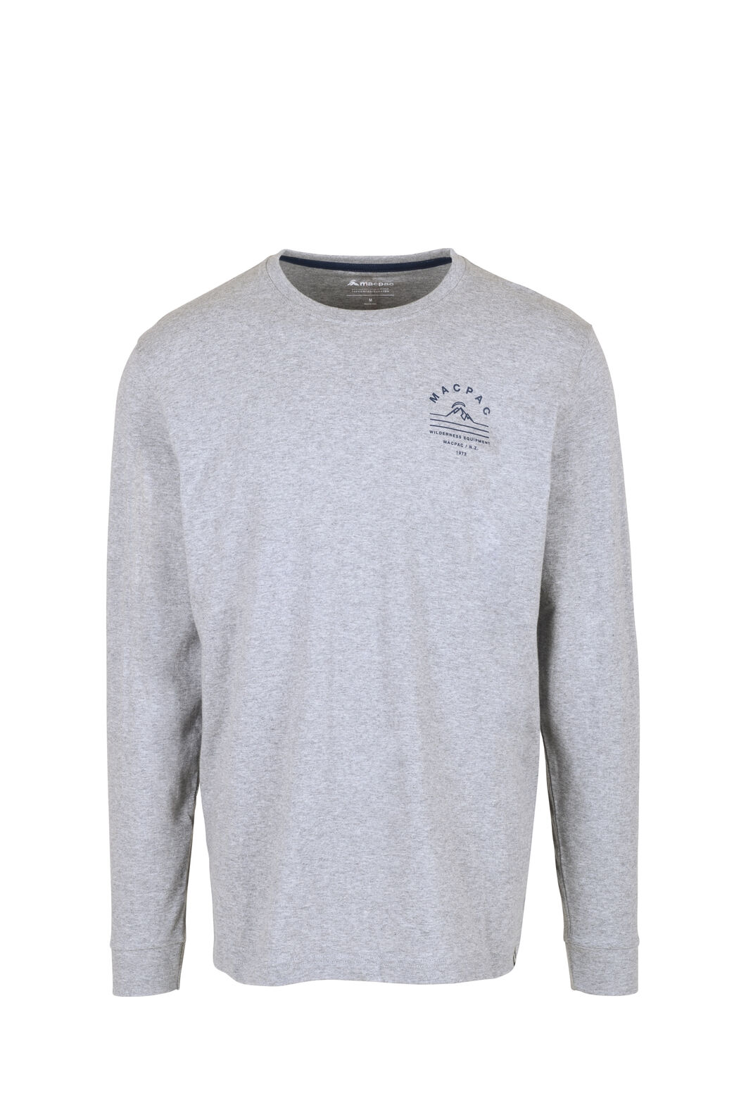Macpac Alps Fairtrade Organic Cotton Long Sleeve Tee — Men's, Grey Marle/Mood Indigo, hi-res