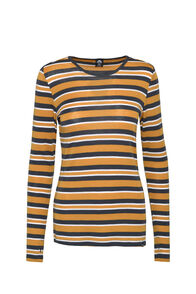 Macpac 220 Merino Top — Women's, Inca Gold/India Ink Stripe, hi-res