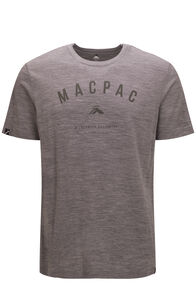 Macpac Men's 180 Merino Tee, Grey Marle/Olive Night, hi-res