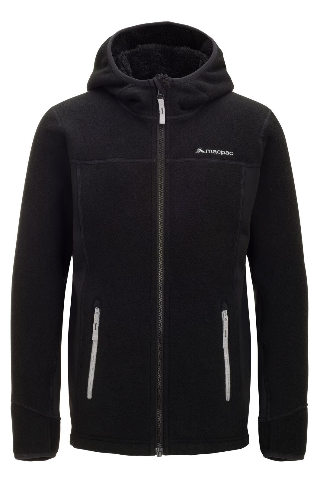 Macpac Mini Mountain Hooded Jacket — Kids', Black/High RIse, hi-res