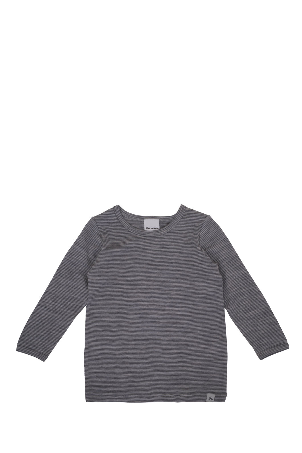 Macpac 150 Merino Long Sleeve Top - Baby, Light Grey Stripe, hi-res