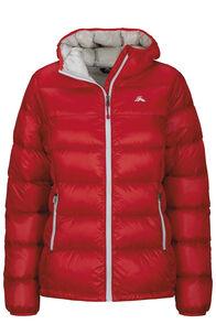 Macpac Jupiter Hooded Down Jacket — Women's, Fiery Red, hi-res