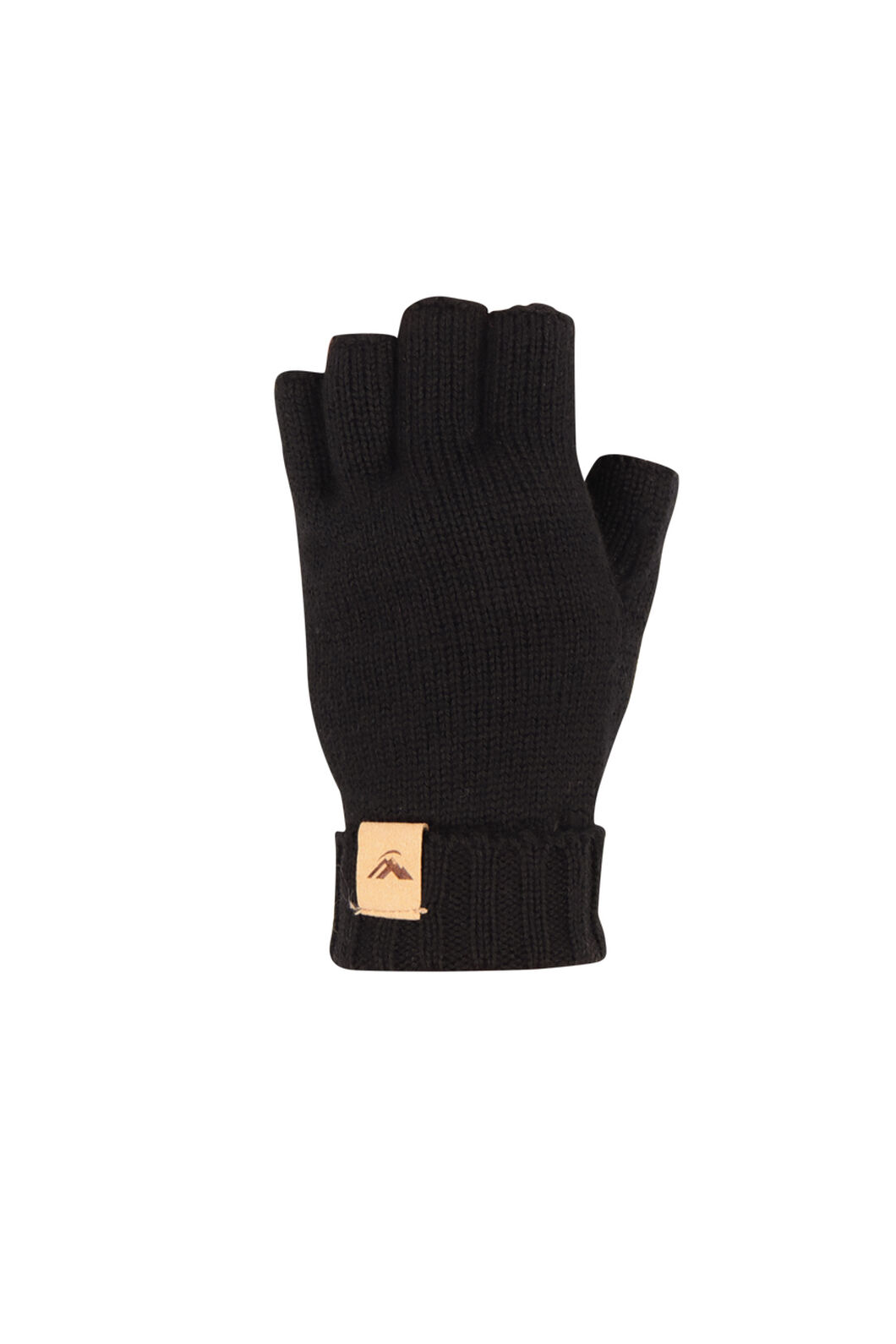 Macpac Merino Fingerless Gloves, Black, hi-res