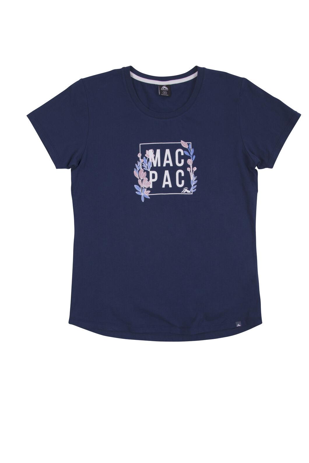 Macpac Cubed Organic Cotton Tee - Women's, Medieval Blue, hi-res