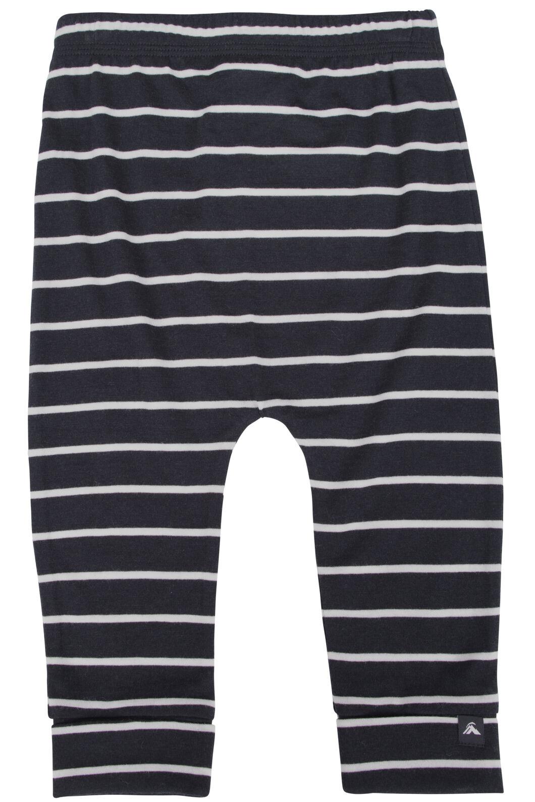 Macpac 150 Merino Long Johns - Baby, Black/White Stripe, hi-res