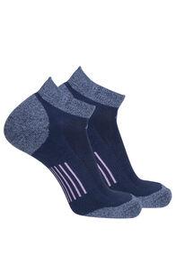 Macpac COOLMAX® Run Anklet Socks — 2 Pack, Black Iris/Orchid, hi-res
