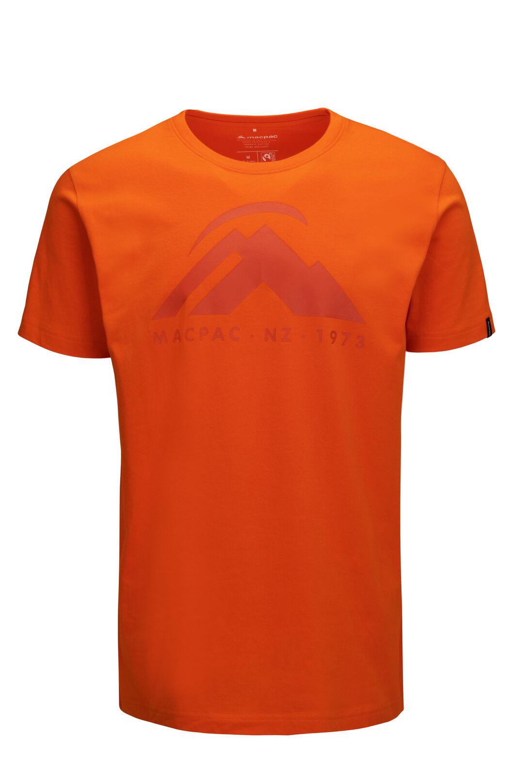 Macpac Mountain Fairtrade Organic Cotton Tee — Men's, Russet Orange, hi-res