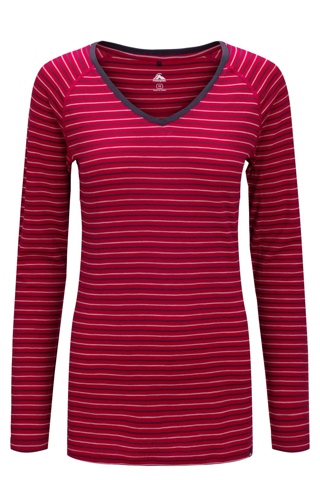 Macpac Women's 150 Merino V-Neck Top, Persian Red Stripe, hi-res