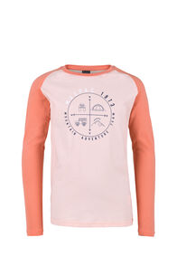 Macpac Compass Organic Long Sleeve Tee - Kids', Tropical Peach, hi-res