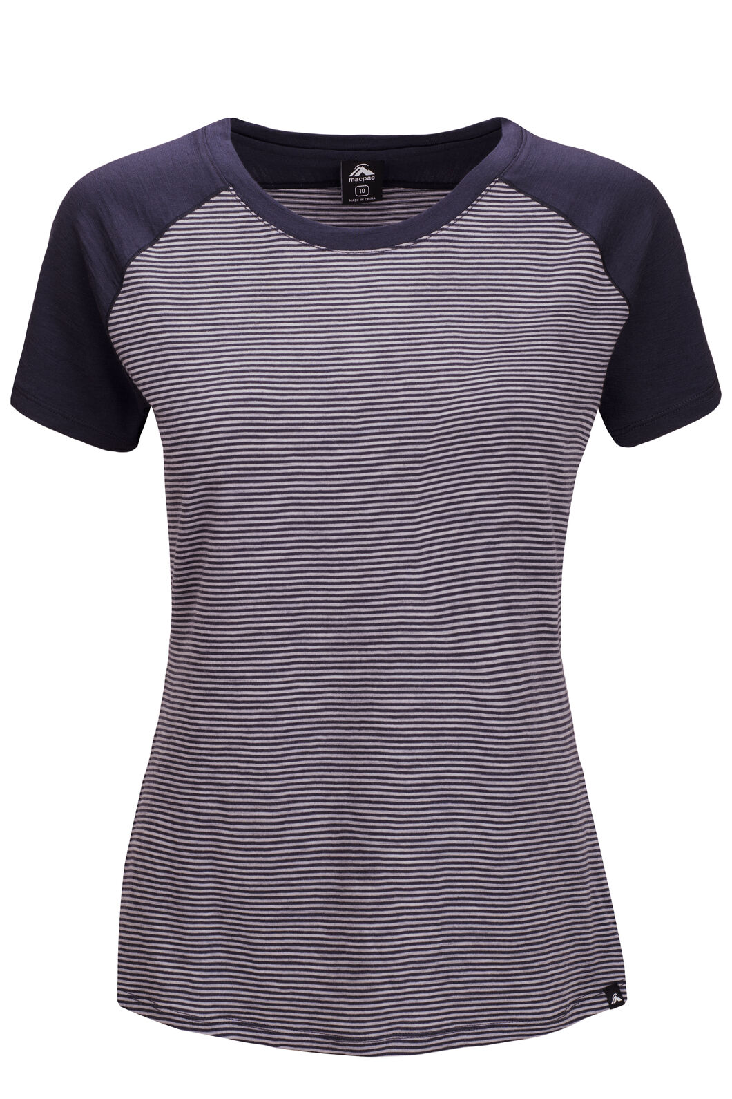 Macpac Ella Short Sleeve Merino Tee — Women's, Blue Nights Stripe, hi-res