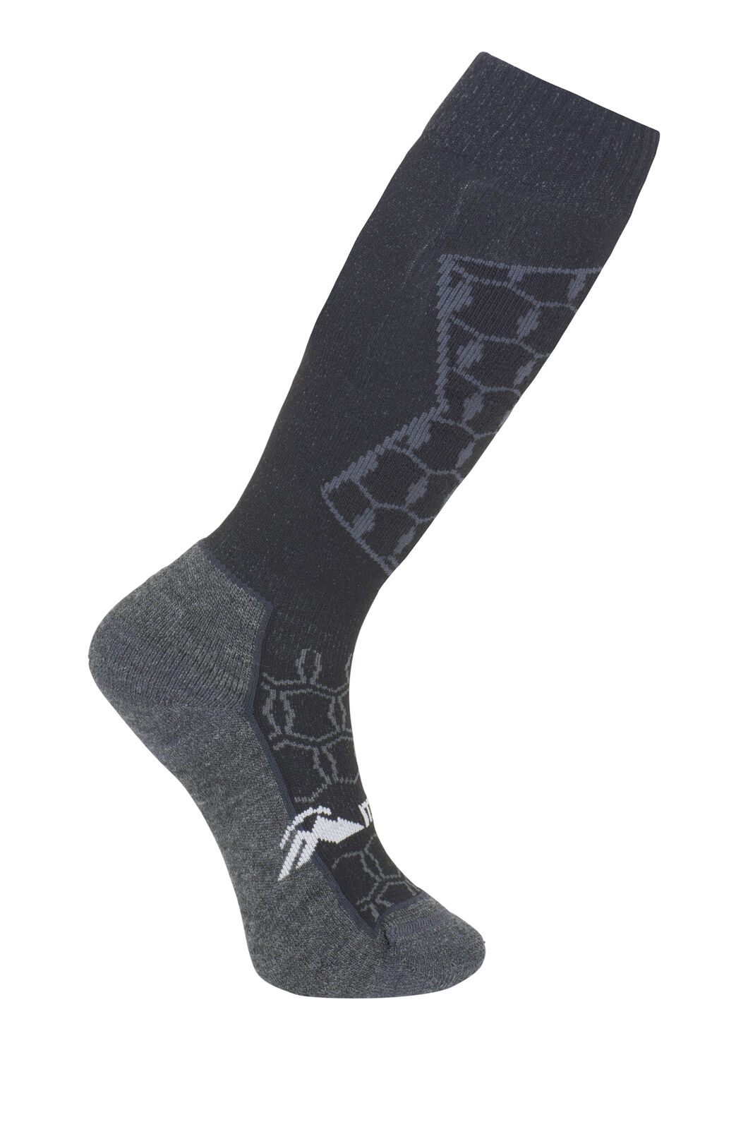 Macpac Kids' Tech Ski Sock, Black/Charcoal, hi-res