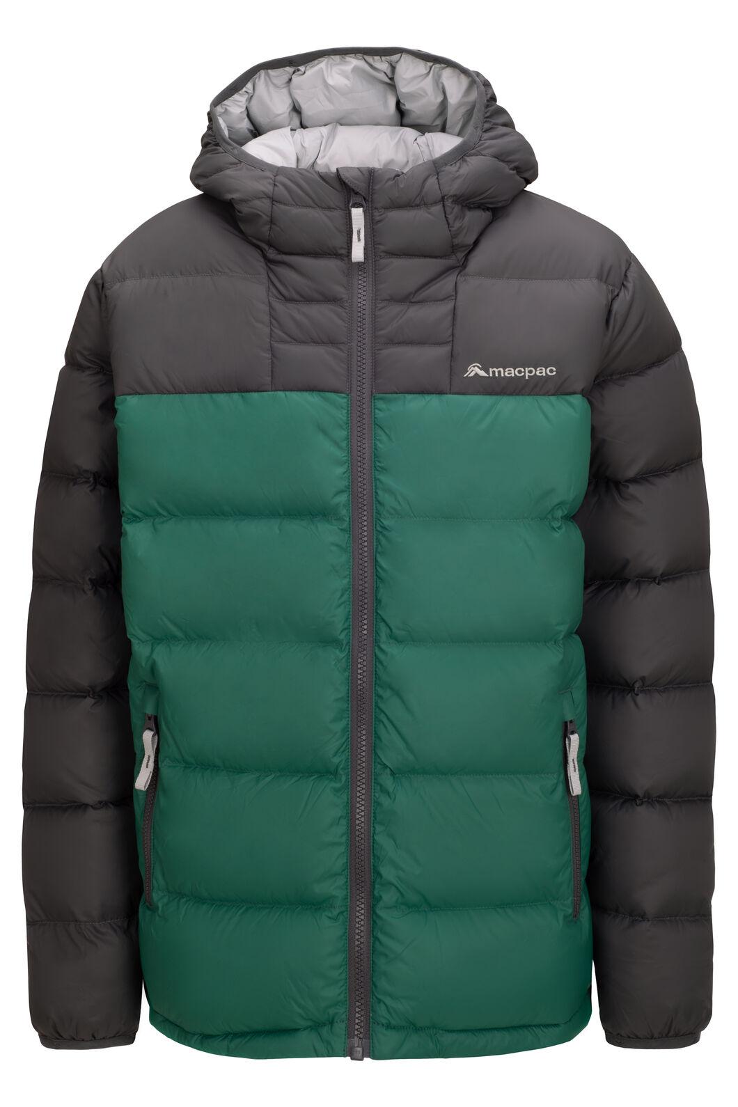 Macpac Kids' Atom Hooded Down Jacket, Evergreen/Asphalt, hi-res