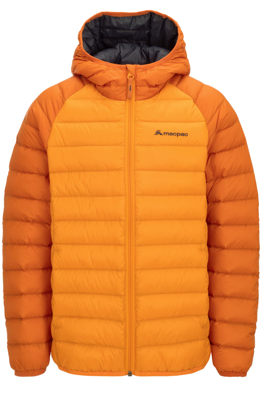 Macpac Uber Light Hooded Down Jacket — Kids', Orange Flame/Russet Orange, hi-res