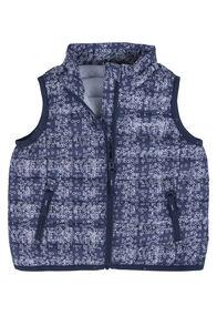 Mini Astro Down Vest - Baby, Black Iris Print, hi-res