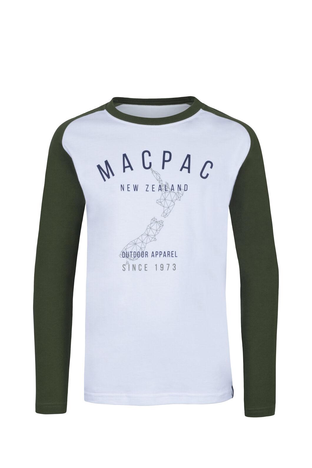 Macpac Outdoor Fairtrade Organic Cotton Long Sleeve Tee — Kids', White, hi-res